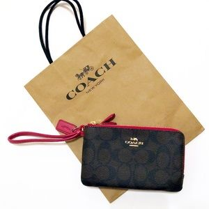 Coach Signature Double Zip Brown/Black Wristlet